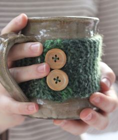 Handmade Knit Coffee Cozy with Buttons