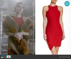 Chanel's red asymmetric dress on Scream Queens.  Outfit Details: http://wornontv.net/54349/ #ScreamQueens
