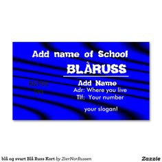 blå og svart Blå Russ Kort Double-Sided Standard Business Cards (Pack Of Slogan, Business Cards, Things To Come, Names, School, How To Make, Lipsense Business Cards, Name Cards, Visit Cards