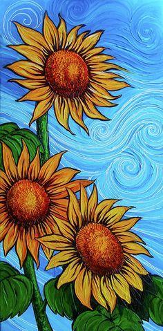 Sunflower Canvas Paintings, Flower Painting Canvas, Canvas Art, Paintings Of Sunflowers, How To Paint Sunflowers, Sunflower Drawing, Sunflower Art, Neue Tattoos, Beautiful Paintings
