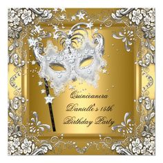 Quinceanera 15th Birthday Masquerade Mask Gold Card