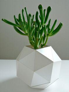 Geometric Vase, Modern Table Top, Polyhedron Paper Design http://www.etsy.com/listing/79588130/geometric-vase-modern-table-top