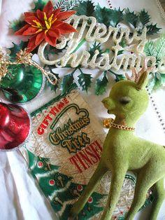 Vintage Christmas~ the green felt deer is super cool!