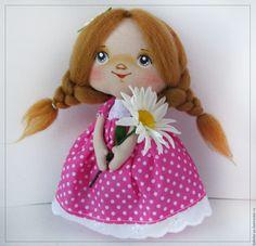 Купить Ромашка - розовый, в горошек, ромашка, кукла ручной работы, кукла с…