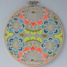 diy inspiration   Bam Pow Doily Painting on Vintage Lace by aprilawakening,