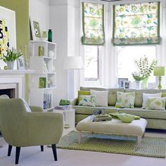 Green and White Summer Decor Ideas. Bright shades of green make a neutral room POP!