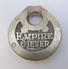 Vintage Miller PADLOCK Lock EMPIRE 6-LEVER Pancake Push Brass NO KEY Steampunk #Miller
