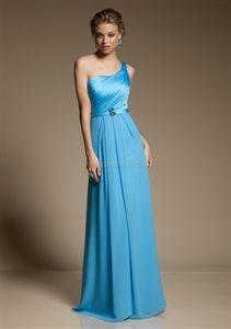 One Shoulder Bridesmaid Dresses Long, Peacock Blue Bridesmaid Dresses   $126.00