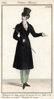 Costume Parisien 1819 via Serendipitous Stitchery: A study on Empire coats from 1810-1830, with a note on researching