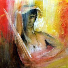 Der Kämpfer, Element Feuer, Malerei von Hans-Jakob Bopp - Kreavitalis