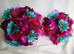 silk wedding flower package fuschia turquoise 6 pieces