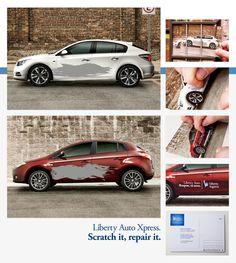 미국 보험회사 Liberty Mutual 의 기발한 엽서입니다.  자동차 그림에 즉석복권 처럼 긁을수 있도록 덧칠을 해줍니다. 엽서를 받은 사람이 덧칠을 긁어내면 Liberty Auto Xpress 서비스의 안내문이 나오게 됩니다~
