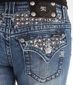 NEW Women's MISS ME Low Rise Pearl Studded Boot Stretch Jean 31 X 35 #MissMe #BootCut
