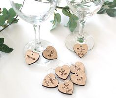 Our personalised wooden wine glass charms make wonderful wedding favours and name place settings. Have each charm personalised with your guests names or roles e.g, Bridesmaid, Maid of Honour, Usher etc. They are a fabulous addition to your wedding table d