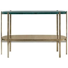 Green Marble Console with Polished Brass Structure 1