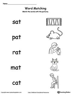 Provide your child with experience in identifying words ending in –AT by matching the words with each picture.
