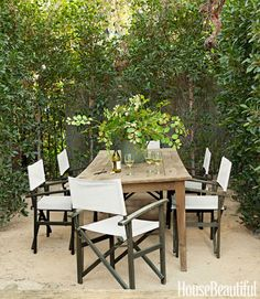 outdoor dining directors chairs black white and neutral designer Tobi Tobin House Beautiful