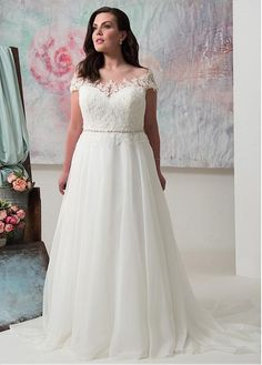 Buy discount Wonderful Tulle & Organza Sheer Jewel Neckline A-line Plus Size Wedding Dress With Lace Appliques & Beadings at Ailsabridal.com