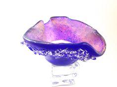 Fused   Glass Tea Light Candle Holder Royal Blue by Mtbaldyglassworks, $34.00