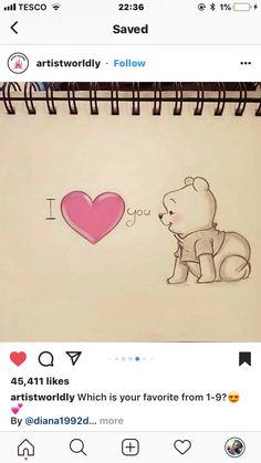 Cute Sketches, Art Drawings Sketches Simple, Pencil Art Drawings, Love Drawings, Cartoon Drawings, Easy Drawings, Cute Disney Drawings, Cute Animal Drawings, Disney Kunst