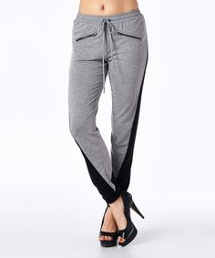 Look what I found on #zulily! Heather Gray & Black Color Block Sweatpants #zulilyfinds
