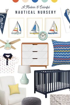 A Modern & Colorful Nautical Nursery — Texture Design Co. - Sailboats, fish, sea waves and more! This coastal themed boy nursery is full of color and cheer! Nautical Baby Nursery, Star Nursery, Nautical Theme, Sailboat Nursery, Modern Nursery Decor, Nursery Design, Baby Design, Baby Boy Nurseries, Baby Cribs