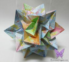Kusudama Paradigma. 30 Pieces. No glue or tape. Made by Sarah. A different angle. Extreme Origami.