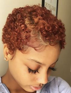 Curls and color popping on this fall color transformation by 🍂🍁🍂 Natural Hair Short Cuts, Dyed Natural Hair, Curly Hair Cuts, Short Sassy Hair, Short Hair Cuts, Dyed Hair, Curly Hair Styles, Natural Hair Styles, Natural Big Chop