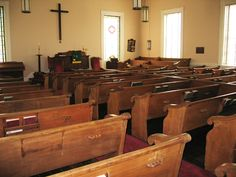 Milton Presbyterian Church interior. Pews by Thomas Day. Free African American. Born in VA. Moved to NC in 1817 just prior to a law forbidding relocation. By 1850, Day's furniture business was the largest of its kind in North Carolina. He employed both white and black apprentices.