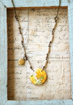 Yellow flower.vintage wallpaper pendant,shabby chic necklace