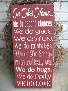In This Home We Do Second Chances, We Do Grace -- Painted Wooden Subway Art Sign. $49.00, via Etsy.