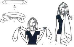 Das lange Halstuch - Tücher binden - Mit Hilfe einer Öse wird ein Tuch zum stylischen Schal. 1. Das Tuch zum Schal falten (s. Grundtechnik) 2. Die Enden durch eine beliebige Öse (das kann zum Beispiel ein hübscher Stein mit ausgestanztem Loch sein) ziehen 3...