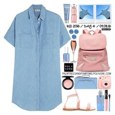 """""""Pack and Go: Rio / Madewell Cotton And Linen-blend Chambray Shirt Dress"""" by palmtreesandpompoms ❤ liked on Polyvore featuring Madewell, Henri Bendel, Phytomer, Balenciaga, Cornetti, MAC Cosmetics, Apothia, Polaroid, Essie and NARS Cosmetics"""