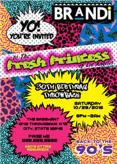 theme Party Invitations Elegant 90 S theme Fresh Prince Princess Hip Hop Digital Birthday Invitation Prince Birthday, Prince Party, 90s Party Decorations, 13th Birthday Parties, Birthday Ideas, 30th Birthday Party Themes, 28th Birthday, Print Your Own Invitations, Hip Hop Party