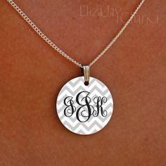 enameled chevron elegant monogram necklace by ElizajayCharm, $12.00