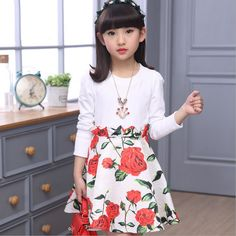 Child Floral Dresses for Girls Casual Dress Kids Formal Clothes V-neck Dress Baby Petal Dress Source by clothing Cute Little Girl Dresses, Girls Casual Dresses, Dresses Kids Girl, Kids Outfits, Flower Girl Dresses, Floral Dresses, Dress For Girl Child, Children Dress, Christening Gowns Girls
