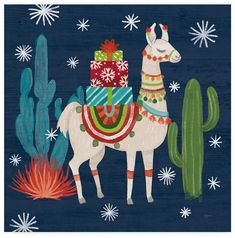 Shop for Mary Urban 'Lovely Llamas Ii Christmas Black' Canvas Art. Get free delivery at Overstock - Your Online Art Gallery Store! Get in rewards with Club O! Black Canvas Art, Canvas Artwork, Artist Canvas, Christmas Canvas Art, Christmas Paintings, Christmas Drawing, Alpacas, Alpaca Illustration, Llamas Animal