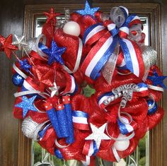 Deco Mesh LAND of the FREE PATRIOTIC Wreath by decoglitz on Etsy