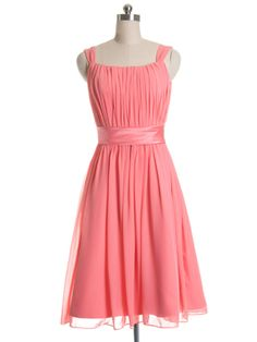 Pretty Bright Pink Tea-length Bridesmaid Dress with Knotted straps