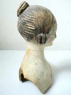 Circa 1840 Wooden Doll's Head |