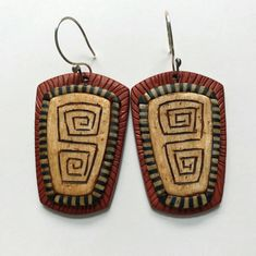 https://flic.kr/p/26oCfQY | Textured and carved polymer clay earrings | Earrings by Shelley Atwood