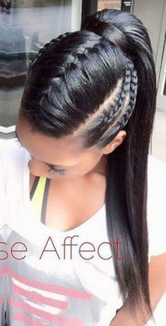 39 Crazy Braided Ponytail Hairstyles - Ponytails Hairstyles for African American Women - Hochsteckfrisur Braided Ponytail Hairstyles, Trendy Hairstyles, Girl Hairstyles, American Hairstyles, Fishtail Braids, Summer Hairstyles, Ponytail Ideas, Popular Hairstyles, Braided Pigtails
