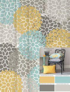 Teal Grey Mustard Dandelion Cushion Cover Flower Pillow
