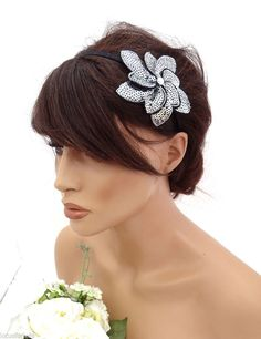 Silver Sequin Flower Headband Hair band Fascinator 20's Art Deco Design