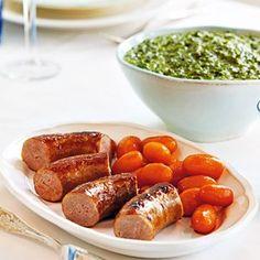 Medisterpølse med brunede kartofler og grønlangkål