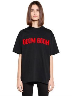 GCDS Boom Boom Flocked Cotton Jersey T-Shirt, Black. #gcds #cloth #t-shirts