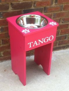 Elevated Single Dog Bowl Stand   21'' Tall  One by turquoiseangels, $69.00