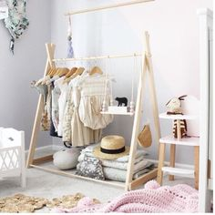Clothing rack fixed base child size clothing rack nursery decor clothing hanger dress up kids Childrens room Wooden Clothes Rack, Clothes Rail, Clothes Hanger, Diy Clothes, Fashion Clothes, Style Fashion, Kids Fashion, Project Nursery, Nursery Decor