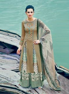 Brown Cotton Designer Palazzo Style Suit 85550