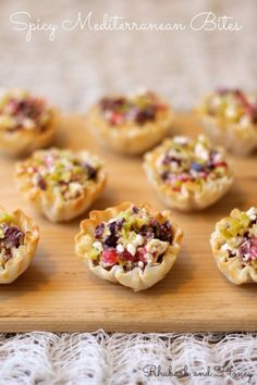 Spicy Mediterranean Bites: Mini phyllo shells filled with fresh ingredients with a little kick.    rhubarbandhoney.com